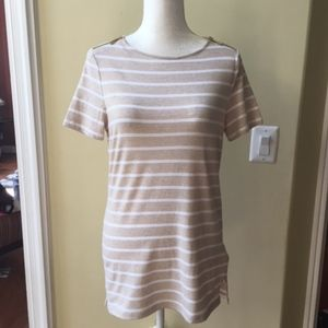 Michael Kors Stripe Zipper Detail Short Sleeve Top